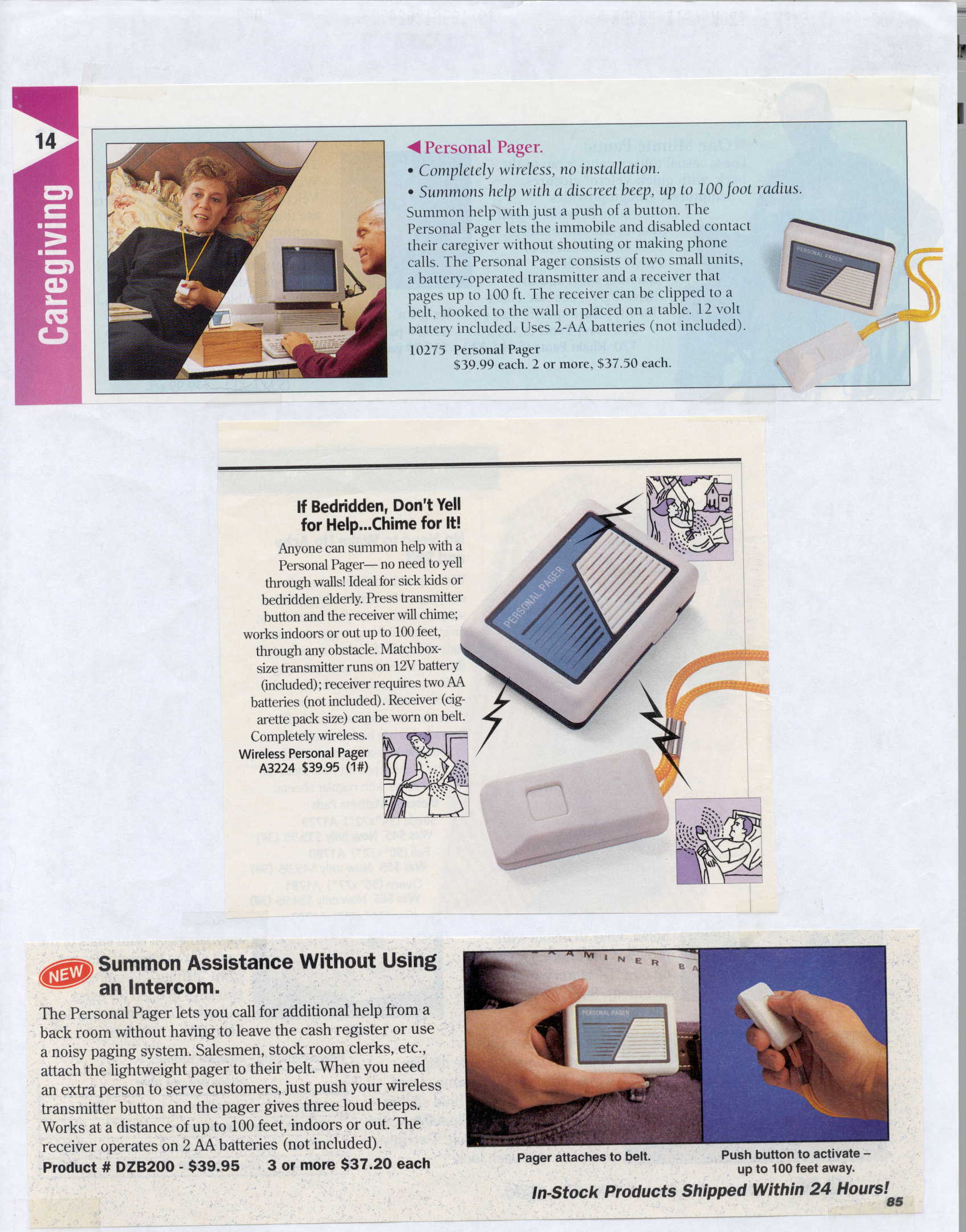 Sample Catalog Page showing Personal Pagers in use; Actual size=960 pixels wide